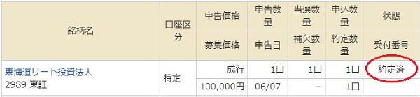 マネックス証券で東海道リート投資法人のIPOが当選