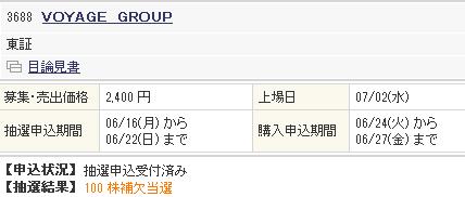 ボヤージュグループ補欠当選! 初値は4600円