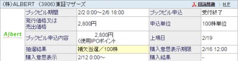SBI証券IPO当選落選