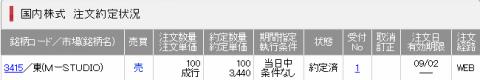 STUDIOUS (3415)約定SMBC日興