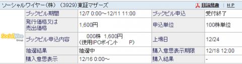 ソーシャルワイヤー(3929)IPO当選?