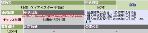 ケイアイスター(3465)IPO当選