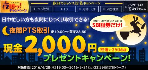 SBI証券の夜間取引キャンペーン