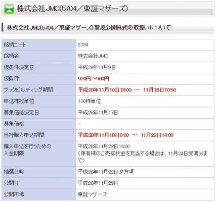 楽天証券JMC(5704)IPO取扱い正式発表
