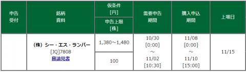 シーエスランバー裏幹事松井証券