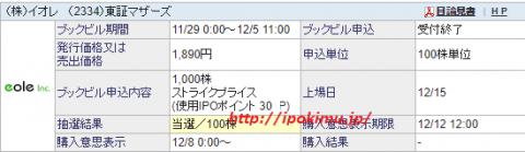 イオレ(2334)IPO当選