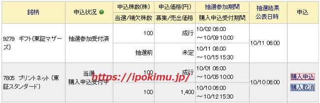 プリントネット(7805)IPO当選画像