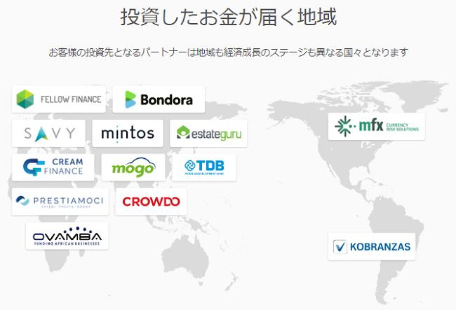 Crowdcreditの投資先国