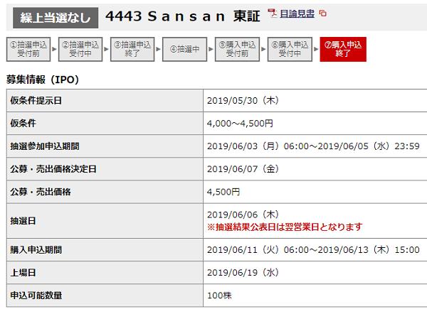 Samsam(サンサン)IPO野村證券抽選結果