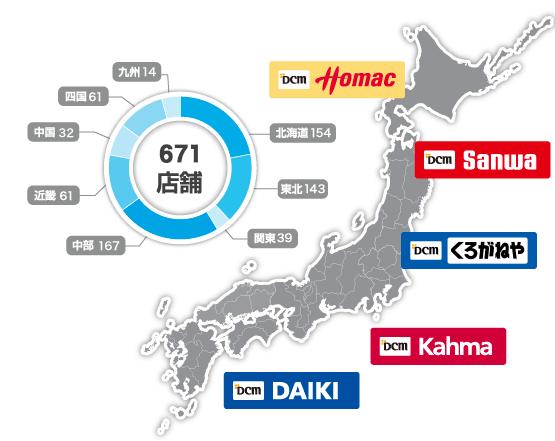 DCMホールディングス出展店舗数と位置の画像