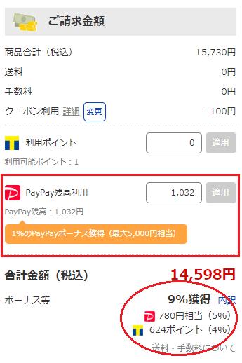 PayPay残高と支払画像