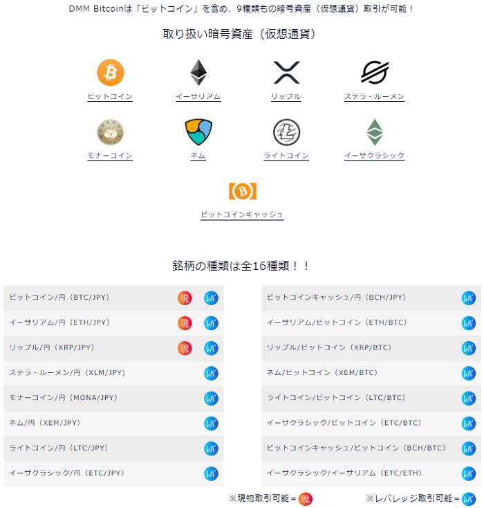 DMMビットコインで取引が出来る暗号資産(仮想通貨)の種類