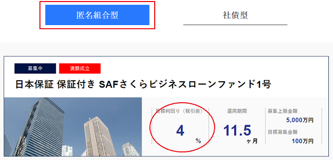 日本保証の保証付きSAFさくらビジネスローンファンド