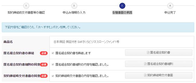 日本保証の保証付きSAFさくらビジネスローンファンド各種書面承諾