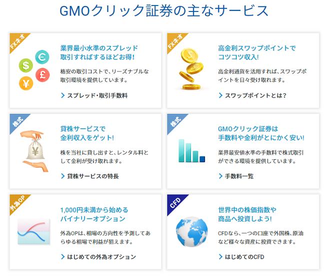 GMOクリック証券のサービス内容