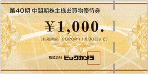 ビックカメラ株主優待(お買い物優待券)