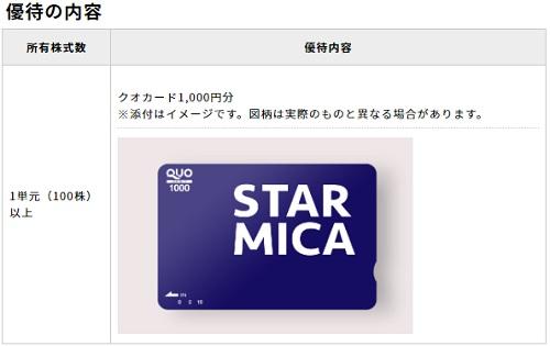 スター・マイカ・ホールディングス(2975)株主優待クオカード