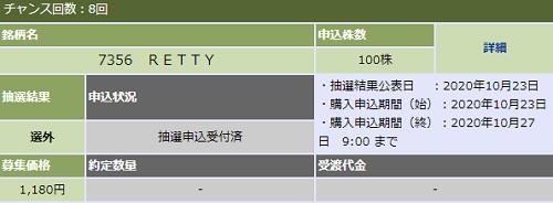 Retty(レッティ)IPO抽選結果