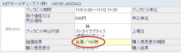 SBI証券IPO当選