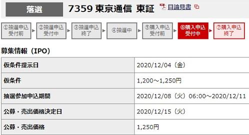 東京通信(7359)の抽選結果