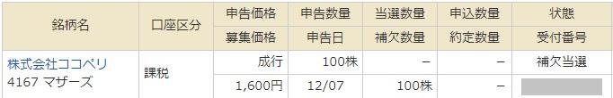 ココペリのマネックス証券抽選結果