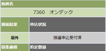 オンデック(7360)大和証券抽選結果