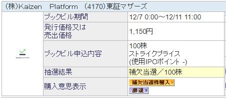 Kaizen Platform(カイゼンプラットフォーム)抽選結果