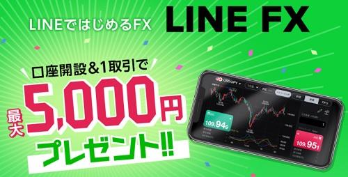 LINE FX口座開設キャンペーン(1取引最大5000円)