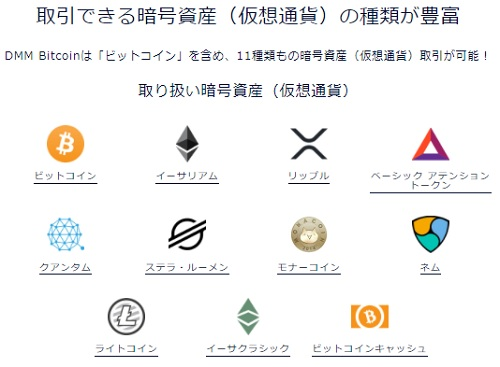 DMMビットコイン取扱い暗号資産(仮想通貨)