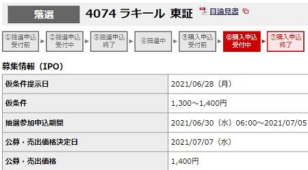 ラキール(4074)IPOの幹事別抽選結果