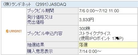 ランドネット (2991)SBI証券抽選結果
