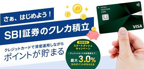SBI証券で三井住友カードを利用したクレジットカード積立
