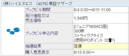 シイエヌエス(4076)IPO抽選結果