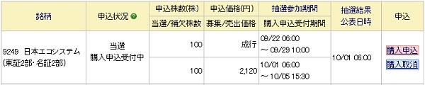日本エコシステム(9249)IPOに当選